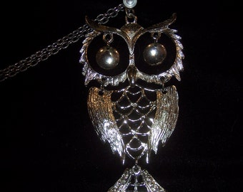 Silver Owl Necklace #008