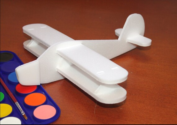 DIY Painting Aeroplane Airplane toy Gift for Boys Small white air jet Baby Shower Party Birthday gift Children plane Foam craft Outdoor game