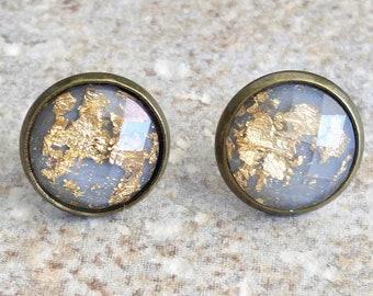 Gray Stud Earrings - Gray Earrings - Gray and Gold Earrings - Gold Glitter Earrings - Grey Earrings - Grey Stud Earrings - Earrings for Her