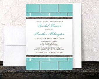 Subway Tile Bridal Shower Invitations - Aqua Blue Glass Tile design with Wood - Teal Turquoise Brown - Printed Invitations