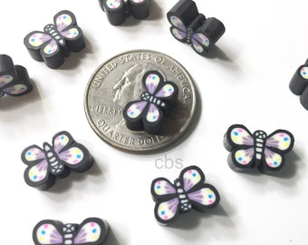 10 Clay butterfly beads. Black butterflies. Black moth beads. Black Clay butterflies.