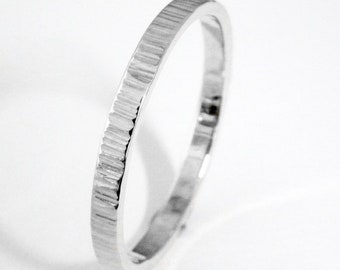 White gold 2mm wide wedding ring bark tree finish thick wedding band for women and men .FREE ENGRAVING.