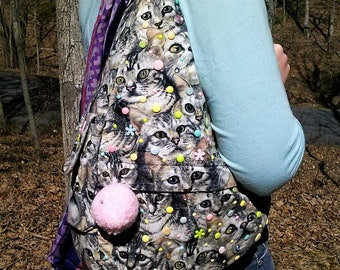One of a Kind Decorated Cat-Print Kawaii Decora Backpack!
