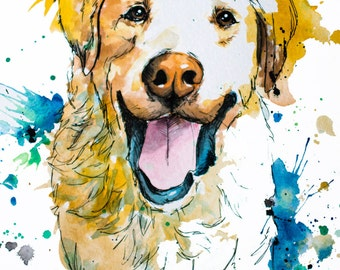 Custom Natural Tone Painted Pet Portrait - Personalized Watercolor Painting - Acrylic, Pen, Ink and Water Color - Dog Cat & Pet Art