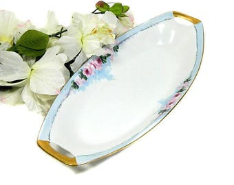 Antique Weimar Porcelain Hand Painted Relish Dish Roses