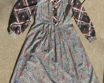 70s Floral & Polka Dot Dress