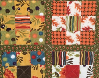 9-Patch Quilt in gold, orange, and green