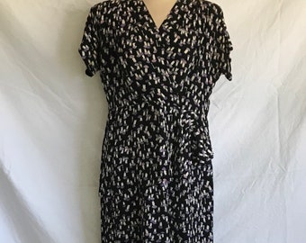 1940's Rayon Crepe Novelty Print Peplum Dress