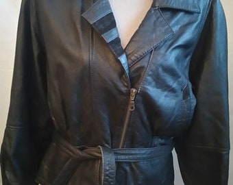 Sale 50% off/Vintage leather jacket/OOAK/ Size 12,vintage 80 s,cottage chic,motorcycle jacket/country chic