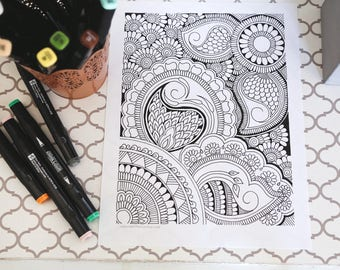Coloring Page - Paisley Coloring Page  - Printable Coloring Page - Mehndi Design Page - Instant Download - Henna Design Coloring Page