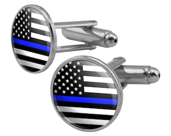 Thin blue line american flag round cufflink set silver color