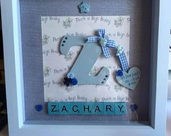 Personalised Scrabble word Art Picture frame, Baby boy/girl, Baby Shower gift, Birthday, Christening, New baby, name, Initial, Keepsake