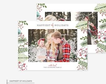 Digital Photoshop Christmas Card Template for photographers PSD Flat card - Christmas Card - PSD Template - 041