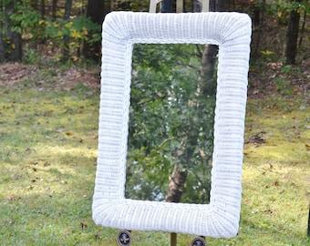 Vintage White Wicker Mirror Large Size Wall Mirror Rectangular Cottage Chic Panchosporch