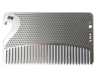 Personalized Stainless Steel Bottle Opener Fine Tooth Hair Comb - Wallet & Travel Size  - GoComb
