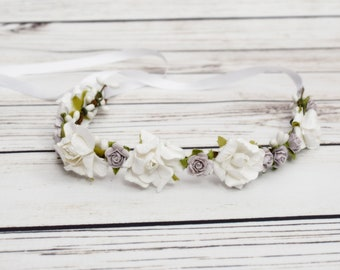 Handcrafted White and Lavender Flower Crown - Bridal Flower Crown - Lavender Wedding Hair Wreath - Bridesmaids Purple and White - Woodland