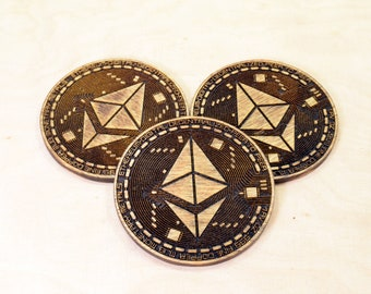 Ethereum ETH Physical Coin - Crypto Currency Token - Collectible - Corporative Gift - Wooden Coin - Double Side Engraved