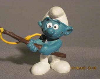 Vintage Angler Smurf..1978...Bully...W. Germany..VGC..4 the Fisherman,Sportsman,Camper,Hiker,Angler