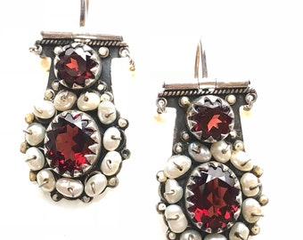 Vintage Sterling Silver Seed Pearl and Garnet-colour Stone Earrings