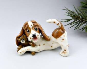 Basset Hound Christmas Ornament Figurine Teddy Bear Porcelain