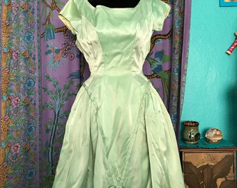 Mint Green Satin Party Dress