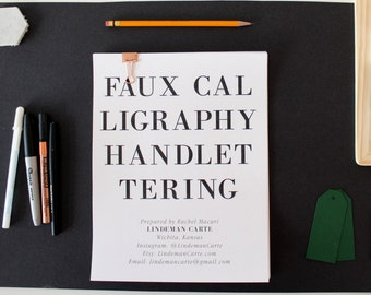 Faux Calligraphy Handlettering Worksheet Set // Calligraphy Guide // Handlettering Printable Sheets // Learn Calligraphy Hand Lettering