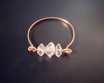 Super Dainty Herkimer Diamond ring