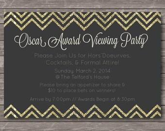 Oscar Party Invitation - Award Show, Black, Gold, & Glitter