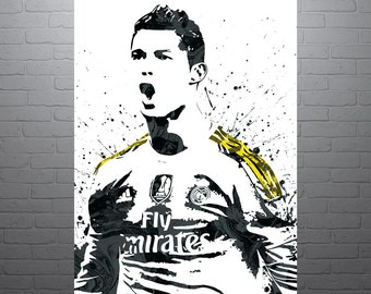 Cristiano Ronaldo Real Madrid Portugal Soccer Poster, Sports Art Print, Football Poster, Watercolor Contemporary Abstract Drawing Print