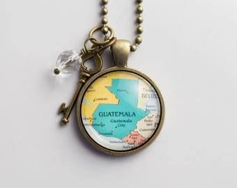 Map of Guatemala Necklace - Central America - Missions Jewelry - Custom Jewelry Pendant - Travel Necklace Adoption Necklace - Gift for Women