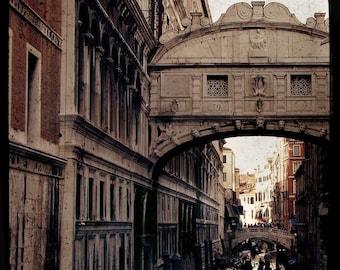 SALE: Bridge of Sighs Venice travel photography atmospheric romantic beige brown stone brick bridge vintage historical landmark classical