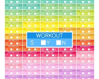 Printable Weekly Workout planner Stickers Workout Planner Stickers Printable planner Stickers for Erin Condren planner stickers Rainbow
