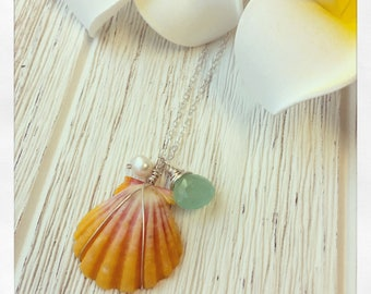Sunrise Shell Necklace, Hawaii Sunrise Necklace, Hawaii Shell Necklace, Shell Necklace, Chalcedony Necklace, Gemstone Necklace