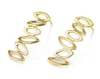 Gold Zigzag Earrings , leaf Earrings , 14K Gold Zigzag Stud Earrings, 14K Gold Post Earrings