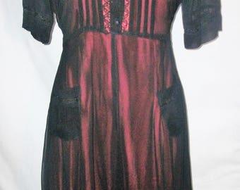 Vintage 90's Starina Sheer Lace Trimmed 100% Rayon Short Sleeve Dress Sz Sm