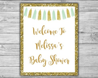 Mint and Gold - Tassels - Custom Welcome Sign - Baby Shower - PRINTABLE - Mint - Gold - Tassels - Custom Sign - 033