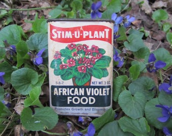 Vintage Tins Flower Fertilizer Stim-U-Plant Shabby Chic Garden Gift