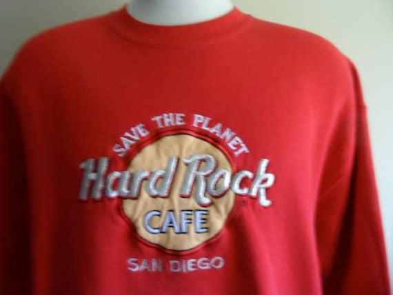 vintage 90's Hard Rock Cafe San Diego California black fleece graphic sweatshirt embroider applique save the planet logo tourist souvenir XL d7sBvtO