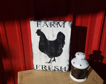Farm Fresh - Rustic Decor  - Farmhouse Decor  - Country Decor  - Rustic wood sign  - Farm - Chicken - Country Kitchen -  Wood sign - Eggs
