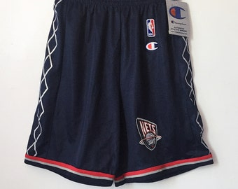 vintage new jersey nets champion shorts youth size large (14/16)