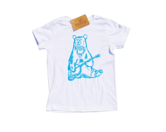 Boys T Shirts - Blue Banjo Bear - Animal T Shirt - Toddler Clothes - Bear Tees - Blue Toddler T Shirt - Boys Birthday Gift