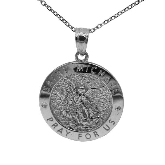 925 Sterling Silver Saint Michael Pray For Us Medallion