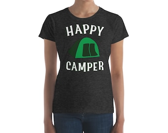 Womens Happy Camper Couples Shirt Tent Camping Gift For Women Men Unisex Campfire Hiking Pajama Top