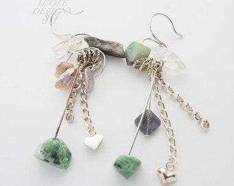 Sterling Silver Dangle Earrings with Gemstones and Shell accent, one of a kind, gift for her, Handmade Jewelry, LCOLE Design, Mothers day