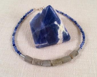 Lapis Lazuli and Labradorite Beaded Bracelet