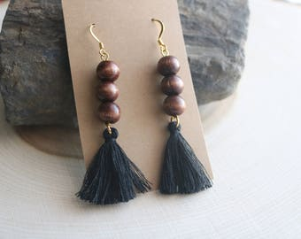 Bohemian Wood and Tassel Earrings, Bohemian Jewelry