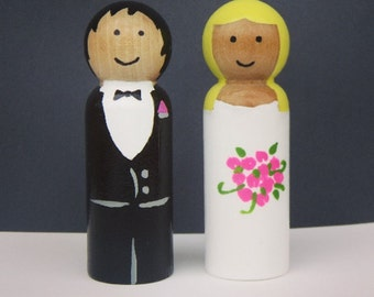 Bride and Groom - Wedding Cake Toppers - UNFINISHED Wooden Peg Dolls - DIY Kit