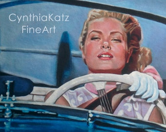 Art Print Reproduction // Watch Out! // From Original Acrylic Painting // Movie Art // Grace Kelly // 22 cm x 17 cm // Cynthia Katz