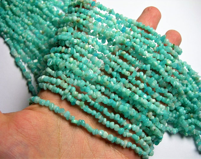 Amazonite - 3mm - 4mm  pebble - chip stone - 36 inch - A quality - PSC315