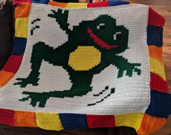 Hand Crocheted Colorful Frog Blanket
